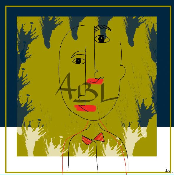 Le visage bleu  80x80cm