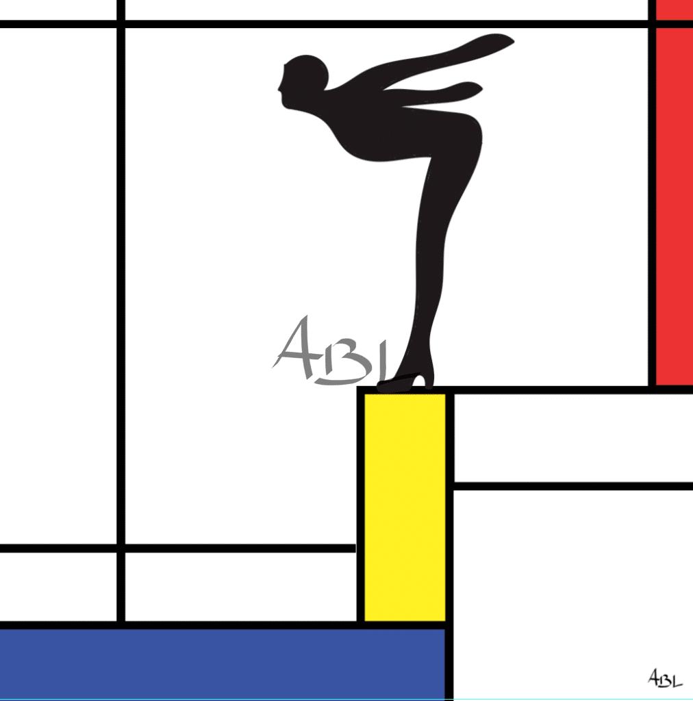 La plongeuse à la manière de Mondrian